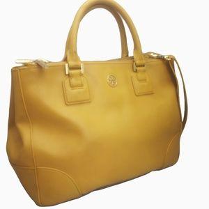 Tory Burch Robinson Saffiano Leather Gold Yellow
